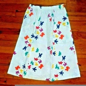 Jon Albert Skirts - White cotton skirt multicolor print Jon Albert VTG